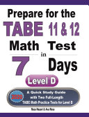 Prepare for the TABE 11   12 Math Test in 7 Days