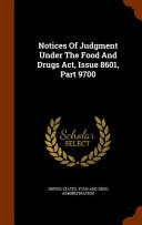 Notices Of Judgment Under The Food And Drugs Act Issue 8601