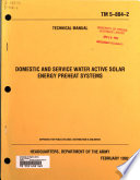 Domestic and Service Water Active Solar Energy Preheat Systems