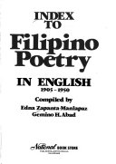 Index To Filipino Poetry In English 1905 1950