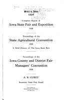 Complete Report of Iowa State Fair and Exposition