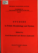 Pdf Studies in Polish Morphology and Syntax