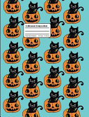 Halloween Composition  Black Cat and Jack O Lantern Pumpkin Pattern Notebook Wide Ruled Aqua Blue