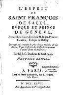 L'Esprit de Saint François de Sales, Evêque et Prince de Geneve