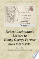 Robert Lachmann's Letters to Henry George Farmer (from 1923 to 1938)