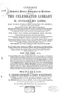 Auction catalogue  books of Guglielmo Libri  25 April to 8 May 1861