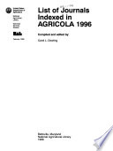 List of Journals Indexed in AGRICOLA.