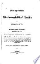 Sitzungsberichte der Altertumsgesellschaft Prussia