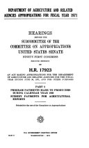 Department of Agriculture and related agencies appropriations for fiscal year 1971