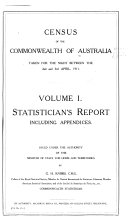 Census of the Commonwealth of Australia Taken for the Night Between the 2nd and 3rd April  1911