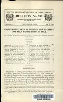 Pasteurizing Milk in Bottles and Bottling Hot Milk Pasteurized in Bulk