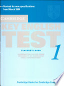 Cambridge Key English Test 1. Self Study. Teacher's. New Edition