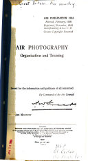 Air Photography  Organization and Training