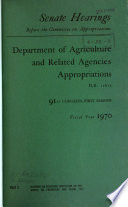 Department of Agriculture and Related Agencies Appropriations for Fiscal Year 1970 Book