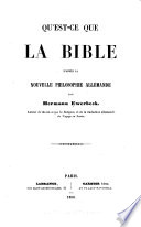 Qu'est-ce que la Bible d'après la nouvelle philosophie allemande