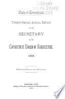 Annual Report of the Secretary of the Connecticut Board of Agriculture Book