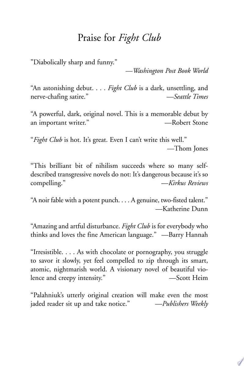 Fight Club: A Novel banner backdrop