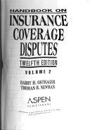 Handbook on Insurance Coverage Disputes