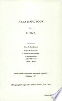 Area Handbook for Burma Book