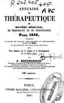 Annuaire de therapeutique, de matière medicale, de pharmacie et de toxicologie