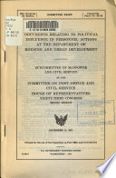 Documents Relating to Political Influence in Personnel Actions at the Department of Housing and Urban Development