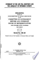 105-1 Hearing: Oversight of NIH and FDA: Bioethics and The Adequacy of Informed Consent, May 8, 1997