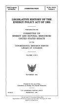 Legislative history of the Energy Policy Act of 1992