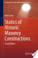 Book Cover: Statics of Historic Masonry Constructions
