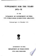 Catalogue of Government of India Civil Publications (subject-wise Arranged), Corrected Up to ...
