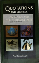Quotations and Sources on Design and the Decorative Arts