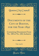 Documents of the City of Boston  for the Year 1892  Vol  4 of 4