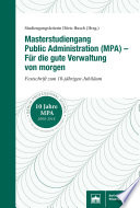 Masterstudiengang Public Administration (MPA) – Für die gute Verwaltung von morgen