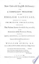 A New Universal English Dictionary  or  a Compleat treasure of the English language  etc   With plates