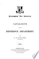 Catalogue Of The Reference Department