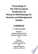 Ecrm2016 Proceedings Of The 15th European Conference On Research Methodology For Business Management  Book
