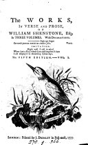 The Works  in Verse and Prose  of William Shenstone  Esq
