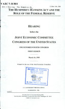 The Humphrey Hawkins Act and the Role of the Federal Reserve