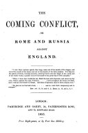 The Coming Conflict  Or Rome and Russia Against England