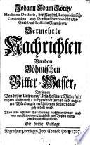 Johann Adam Göritz ... Vermehrte Nachrichten von dem böhmischen Bitter-Wasser