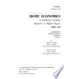 Home Economics in Institutions Granting Bachelor's Or Higher Degrees, 1961-62