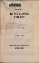 Bulletin of Dr. Williams's Library