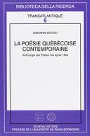 La poésie québécoise contemporaine