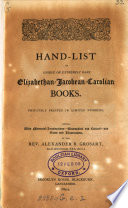 Hand List Of Unique Or Extremely Rare Elizabethan Jacobean Carolian Books Edited By Alexander B Grosart