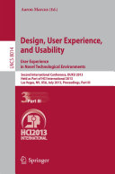 Design, User Experience, and Usability: User Experience in Novel Technological Environments