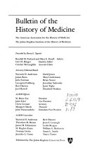 Bulletin of the History of Medicine ...