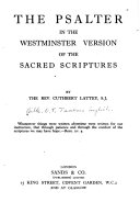 The Psalter in the Westminster Version of the Sacred Scriptures