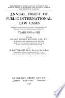 Annual Digest Of Public International Law Cases