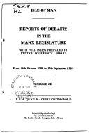 The Times Reports of Debates in the Manx Legislature