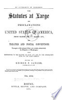 The Statutes at Large and Proclamations of the United States of America from
