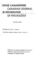 Canadian Journal of Psychology